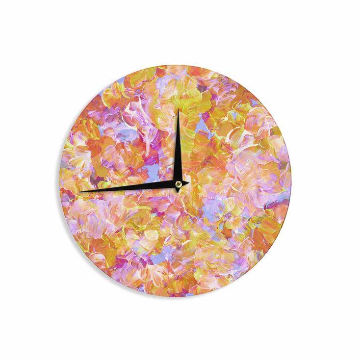 "Ebi Emporium ""Bloom On! Yellow Orange"" Pink Orange Wall Clock"
