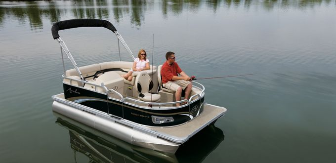 Eagle FM Fish Pontoon Boat - The Eagle is the most economical fishing pontoon boat, equipped with all the fishing extras you'll need for a day out on the lake. #avalonpontoons #pontoonboats #fishing