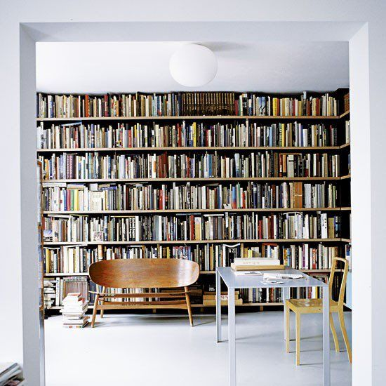 wall of books + a killer bench