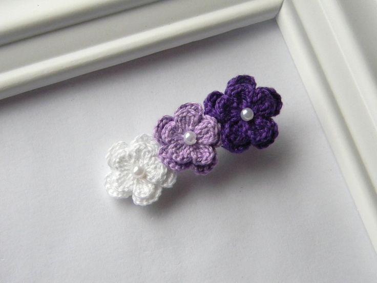 Crochet Flower Hair Clip. Love this idea!