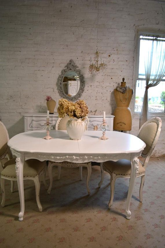 Dining Table Painted Cottage Chic Shabby French Dining Table With