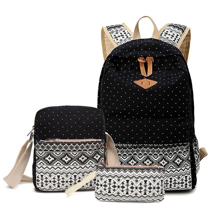 Sunborls marke stilvolle leinwand druck rucksack frauen schultaschen für mädchen im teenageralter nettes bookbag satz rucksäcke weibliche bagpack