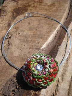 recycle and crochet necklace
