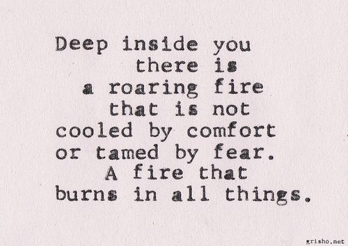 Deep inside you there is a roaring fire that is not cooled by comfort or tamed by fear. A fire that burns in all things