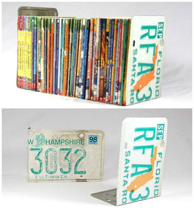 License Plates | 23 Lovely DIY Bookends To Adorn Your Shelves