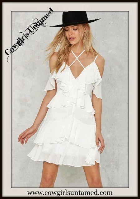 NASTY GAL DRESS Criss Cross Neckline White Ruffle Mini Dress #nastygal #dress…