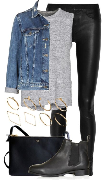 anniesclothes:  Untitled #1049 by anniesclothes featuring a jean jacket Rag Bone open back tank top, $150 / Topshop jean jacket / Helmut Lang leather legging / Topshop black boots, $75 / ASOS square ring