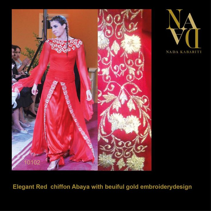 Elegant Chiffon with golden embroidery design  designed by Nada Kabariti. For orders contact: Jordan: 00962795086955 KSA & Bahrain: 00966597798178 Facebook: www.facebook.com/...