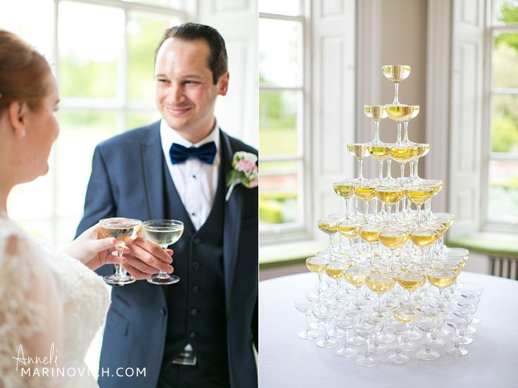 """Bride-and-groom-champagne-tower-Iscoyd-Park"""