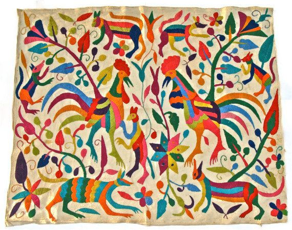 ETSY Vintage Otomi Mexican Hand Embroidered Folk Art Textile