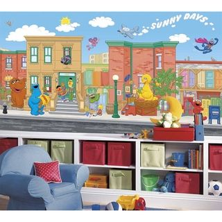 @Overstock.com - Sesame Street Chair Rail Prepasted Wall Art Mural (6' x 10.5') - Now Sesame Street and its cast of characters can be right on your child's wall, with this XL wall mural. This fun wall art is perfect for nurseries and bedrooms, and parents will love how easy it is to apply and remove.  http://www.overstock.com/Baby/Sesame-Street-Chair-Rail-Prepasted-Wall-Art-Mural-6-x-10.5/7653701/product.html?CID=214117 $154.00