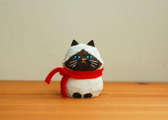 木彫り人形 ペルシャ猫 [CWF-049]