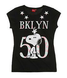Snoopy Damen T-Shirt schwarz mit Aufdruck Lizenzartikel Gr. XS Gr. 158/164