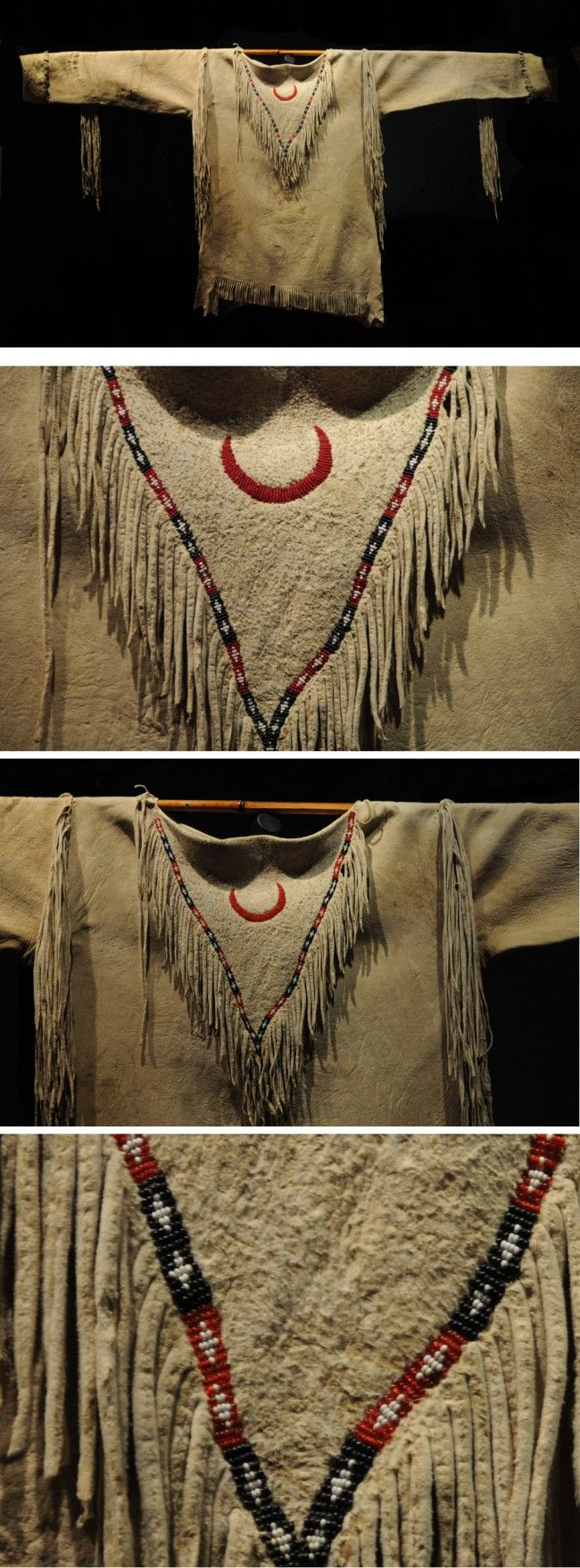 Apache War Shirt ca. 1890 sinew sewn and beaded with 1890's era beads.red beads are transparent red, and beads are in great shape, no bead loss.nice old patina on brain tanned hide with tabs and elbow fringe.