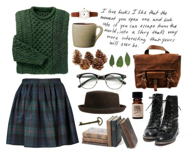 """All the Trees"" by throwmeadream ❤ liked on Polyvore featuring Olympia Le-Tan, VIPARO, Lovely Bird, Limit, Toast, vintage, plaid and books"