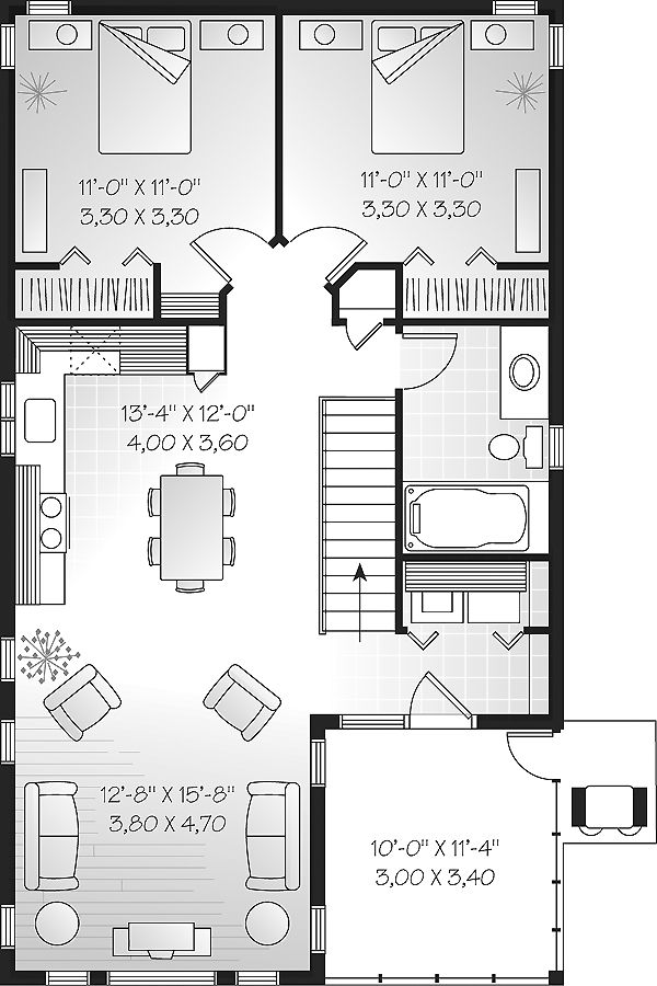 I like this one a lot, but would flip kitchen and bath sides to put kitchen closer to porch. Might also expand one bedroom by 3-4 feet to plan ahead for wheelchair access.