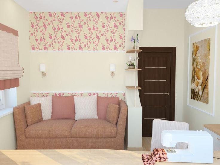 Дизайн спальни в коттедже, вариант 1, ракурс 3