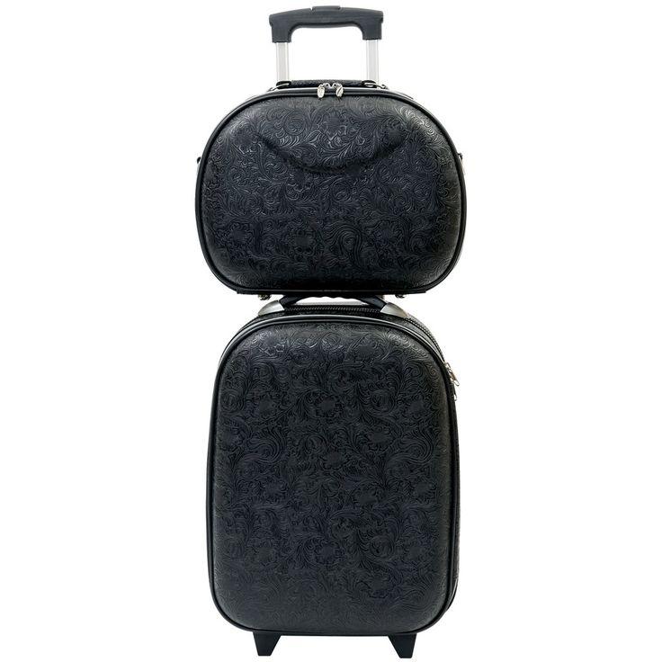 Airport Trolley Set - Black Fleur-de-lis - Catherine Manuell Design