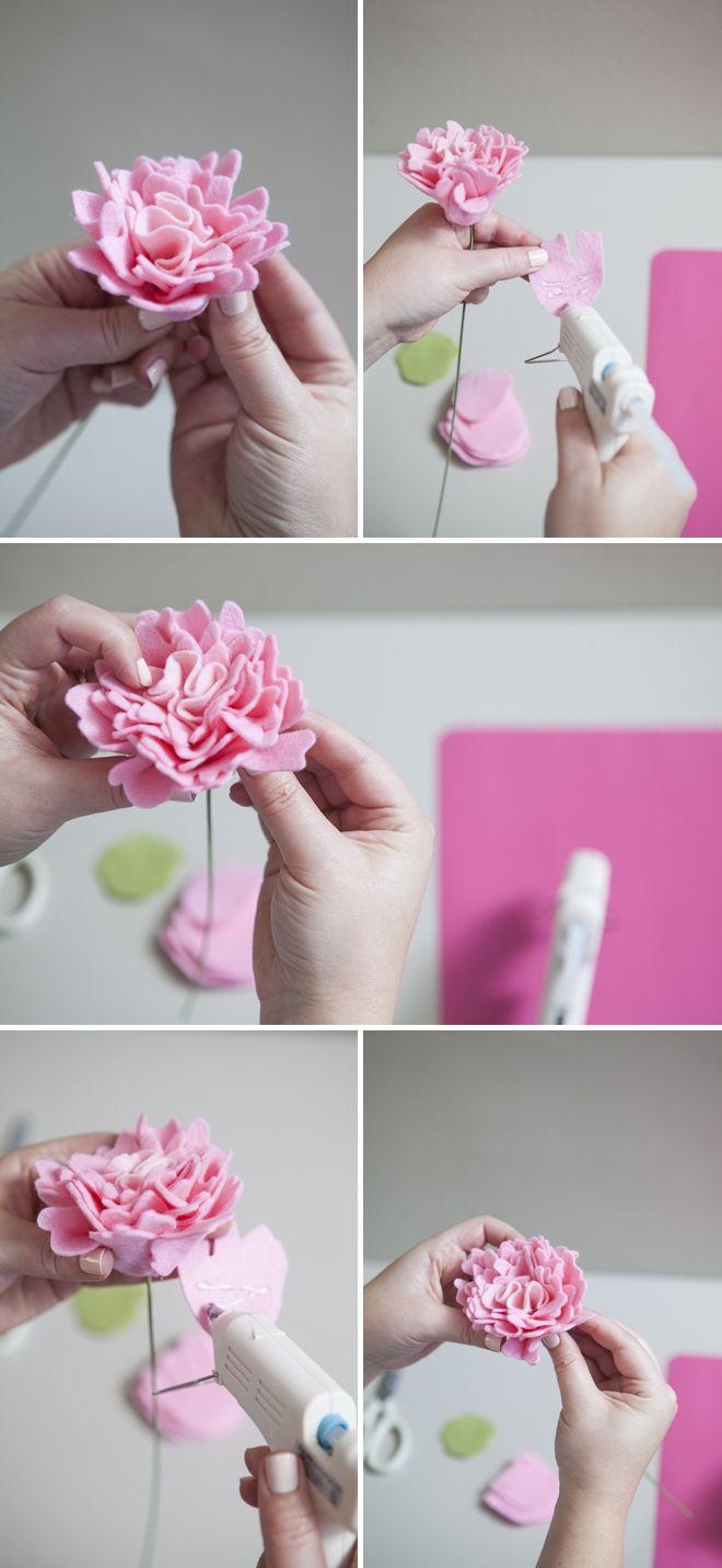 como fazer uma flor peônia sentiu