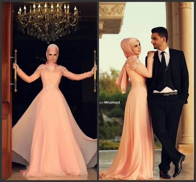 Chiffon Coral Long Sleeve Muslim Wedding Dress 2015 Dubai Wedding Gown Arabic Bride Dresses Customer Made