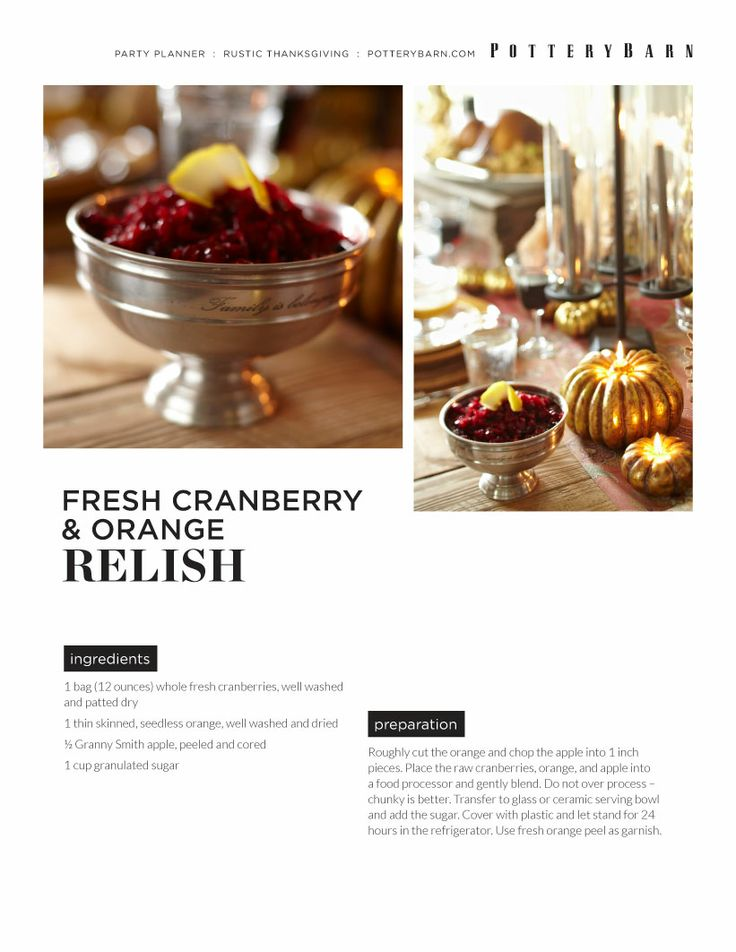 Cranberry Relish:  12 oz fresh cranberries, 1 orange, 1/2 Granny Smith apple, 1 c sugar.  Lightly chop in food processor.