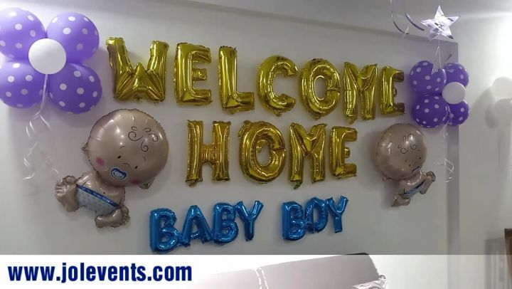 Welcome Ceremony Of A Newborn Baby Boy Balloon Decoration Done At Home Plan A Welcome Ceremony Pa Welcome Home Baby Baby Boy Balloons Welcome Home Decorations