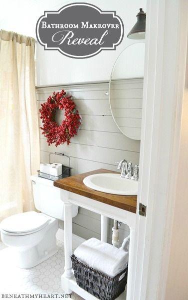 Bathroom Makeover Reveal beneathmyheart.net  #cottage #bathroom #plankwalls