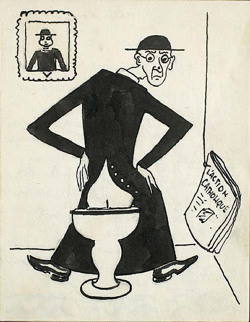 """The drawing would have been highly controversial had it been presented publicly, as it satirizes both a Catholic priest and L'Action Catholique, the leading Catholic publication in Quebec. """"L'Action Catholique,"""" 1945, National Gallery of Canada. #ArtCanInstitute"""