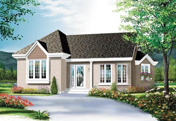 House Plan 65265   Ranch Traditional Plan with 950 Sq. Ft., 2 Bedrooms, 1 Bathrooms