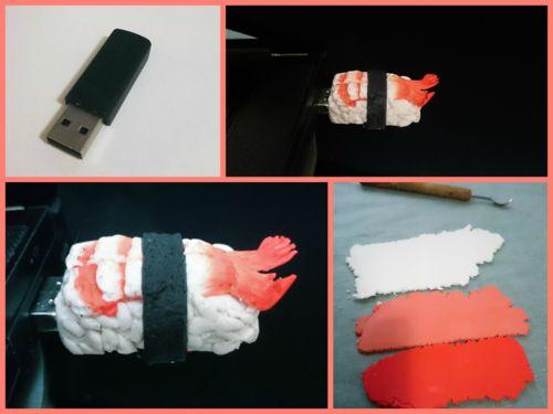 Sıkıcı USB'lere son! Polimer kil sushi usb bellek / No more boring USB storages! Polymer clay sushi usb drive :)