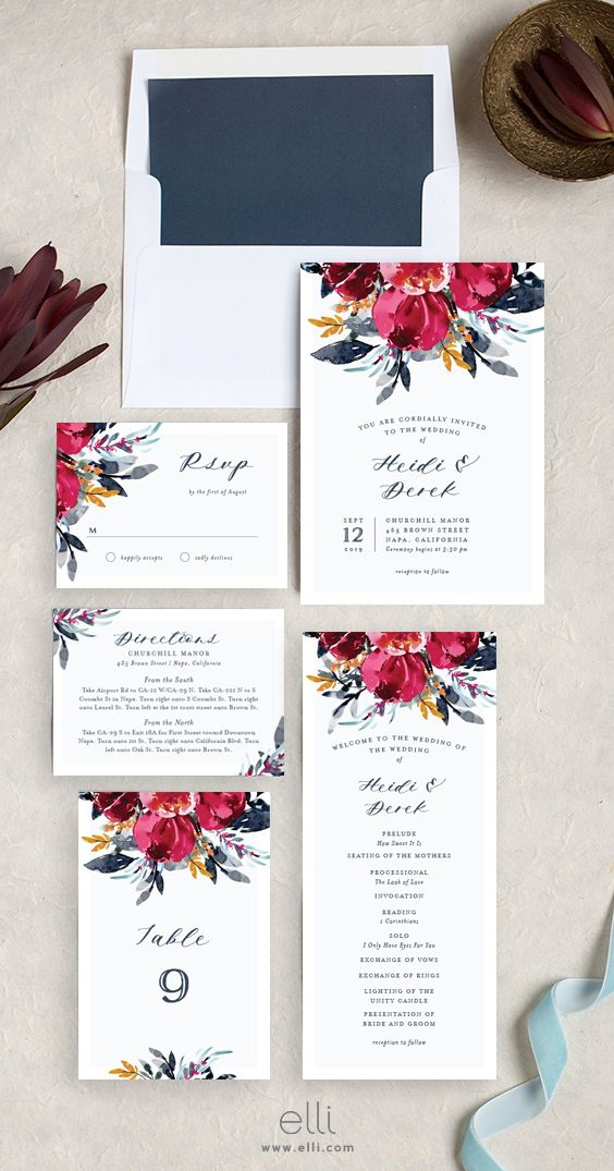 not on the high street winter wedding invitations%0A Painted Bouquet Wedding Invitation