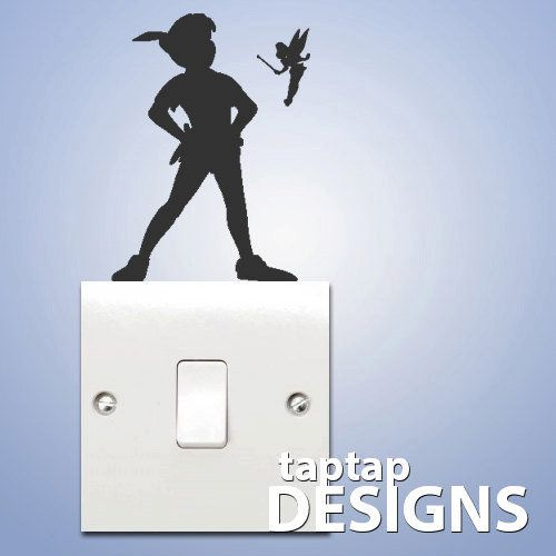 Peter Pan Shadow Light Switch Wall Decal Sticker SKU0129 on Wanelo