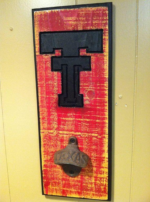 Texas Tech Bottle Opener black by TreyColeCreations on Etsy, $26.00