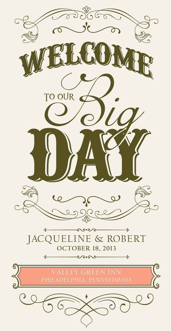 """Custom Wedding Welcome Sign """"Welcome to Our Big Day"""", 15.5"""" x 30"""", Printable, DIY, Sign, Peach, Pink, Brown"""
