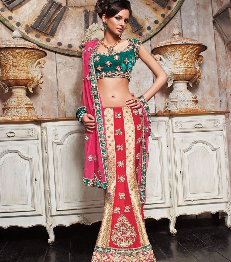lurid Green With Golden and Red designer bridal Lehenga