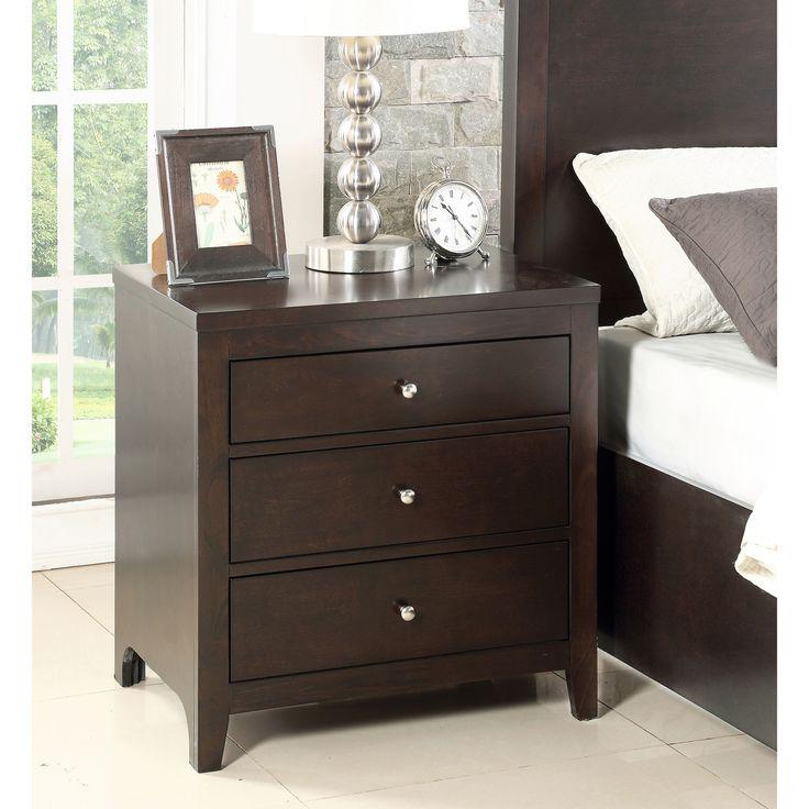 abbyson clarkston espresso rubberwood 3drawer nightstand clarkston brown