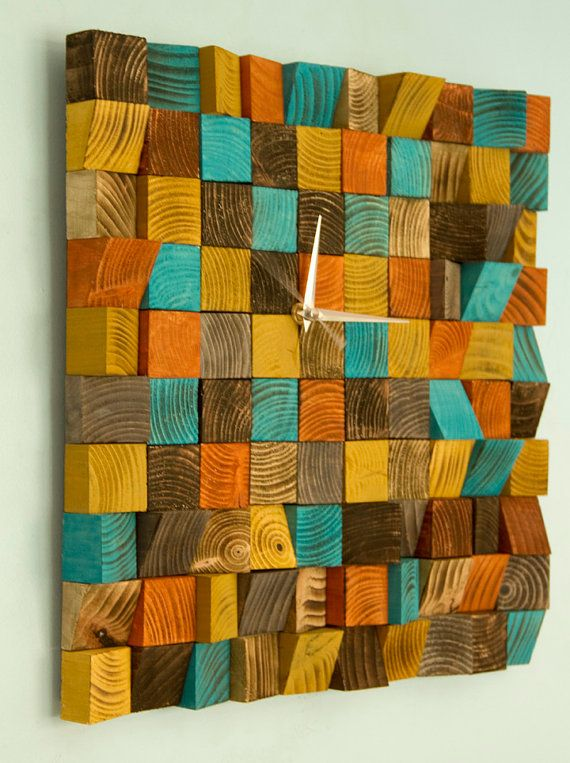 Wood wall art Clock, office wall clock reclaimed wood art clock, geometric, mosaic