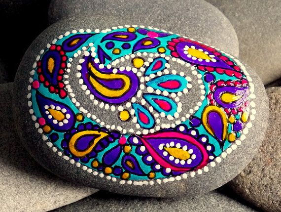 Dipped My Brush In Paisley /Painted Rock / Sandi Pike Foundas / Cape Cod Sea Stone  $45