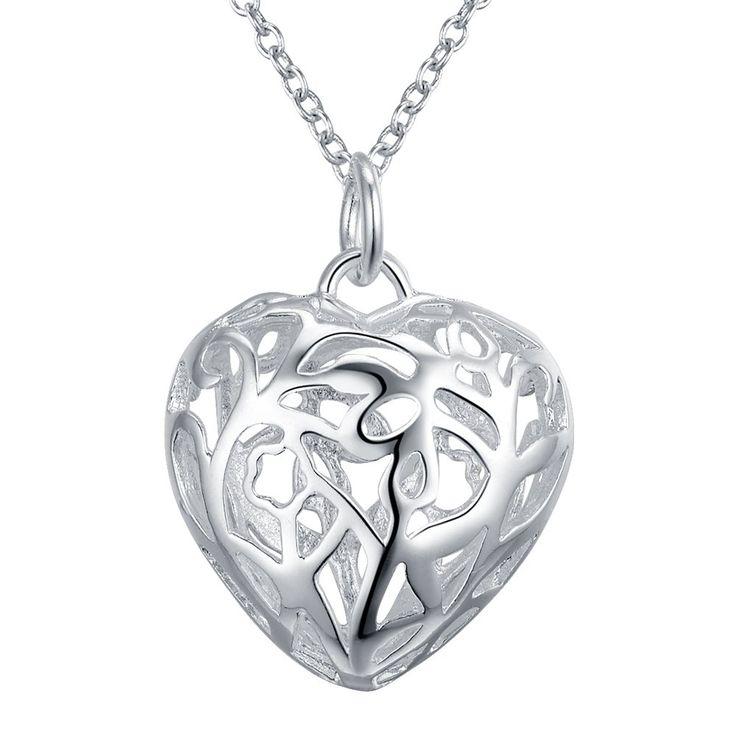 Полые сердце любовь посеребренные Ожерелье Новый Продажи серебряные ожерелья & подвески/JZJSJVAG…