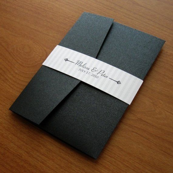 Black And White Wedding Invitation Set Sample   Silver And Black Pocket  Invitation   Classic Wedding. Affordable ...