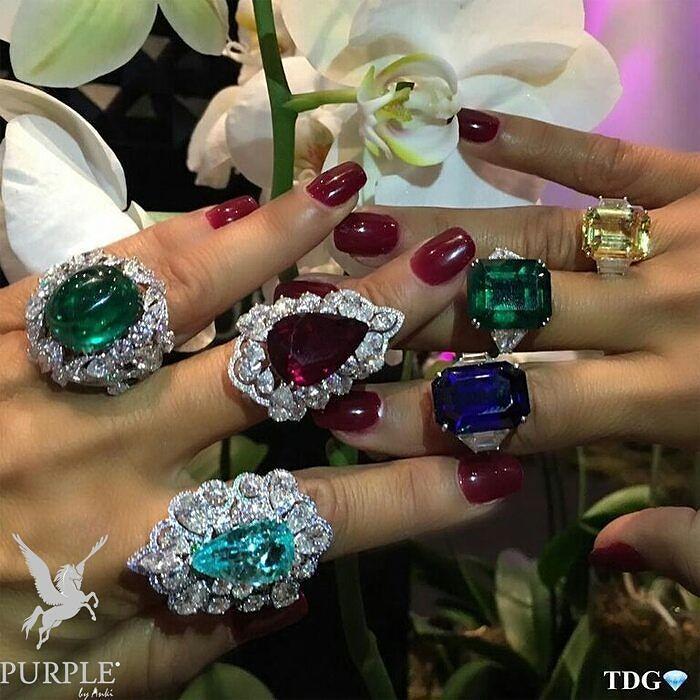 Cabochon emerald pigeon blood Burma ruby pariaba Columbian emerald sapphires and diamonds by @orlovjewelry! Feast your eyes on these wonderful array of gemstone colors! Take your pick or grab them all! Via @the_diamonds_girl #purplebyanki #diamonds #luxury #loveit #jewelry #jewelrygram #jewelrydesigner #love #jewelrydesign #finejewelry #luxurylifestyle #instagood #follow #instadaily #lovely #me #beautiful #loveofmylife #dubai #dubaifashion #dubailife #mydubai #Rings