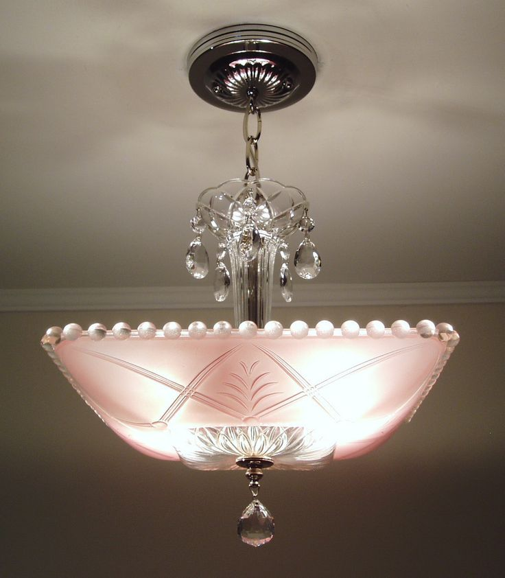 Vintage 1930s Art Deco Pink Square Glass Ceiling Light Fixture Chandelier