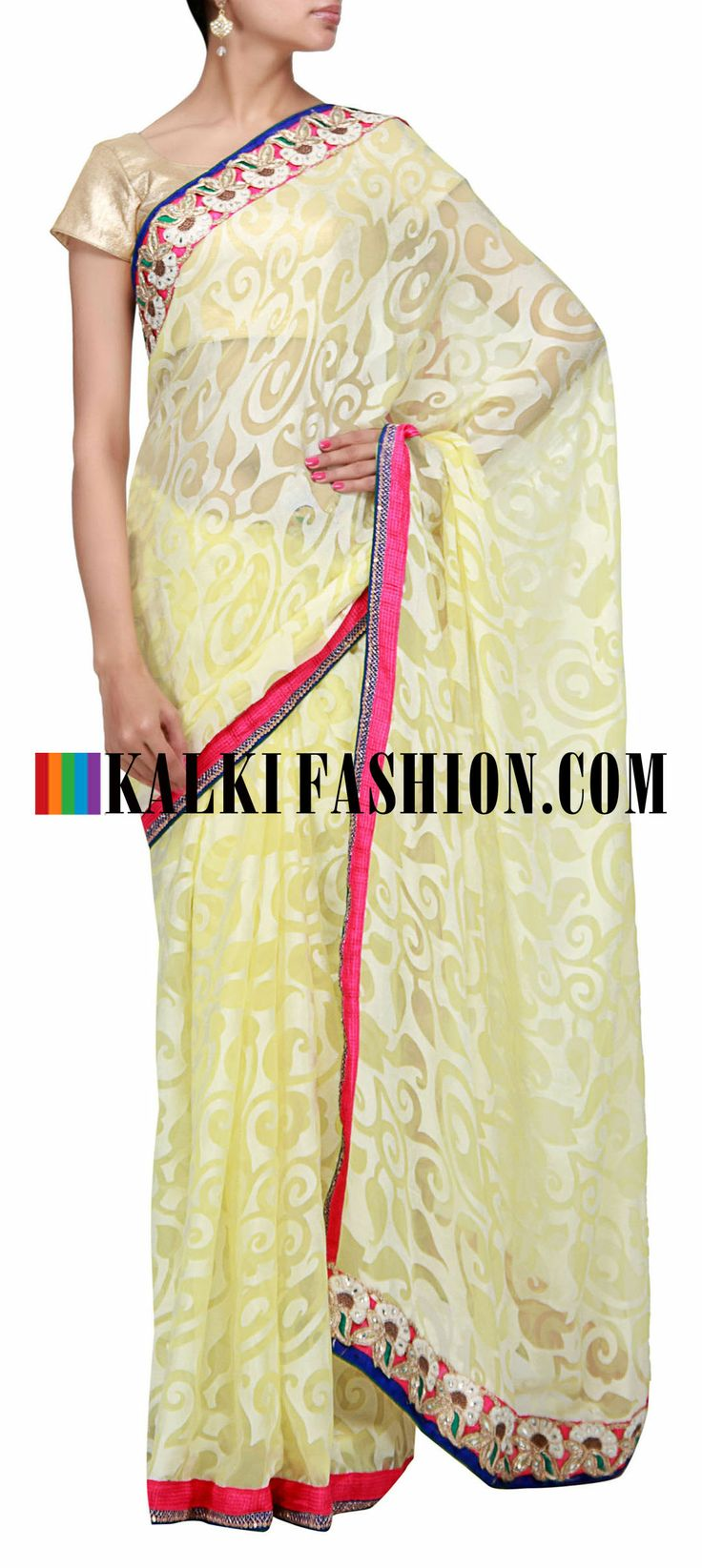 Buy Online from the link below. We ship worldwide (Free Shipping over US$100) http://www.kalkifashion.com/yellow-saree-enhanced-with-embroidered-border.html Yellow saree enhanced with embroidered border