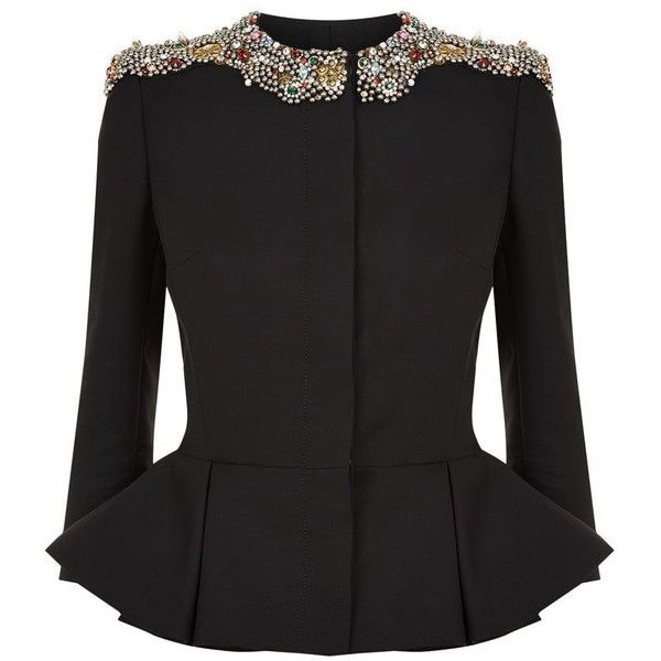Alexander McQueen Embellished Peplum Jacket (£4,575) ❤ liked on Polyvore featuring outerwear, jackets, alexander mcqueen jacket, shoulder pad jacket, alexander mcqueen, tailored jacket and pleated jacket