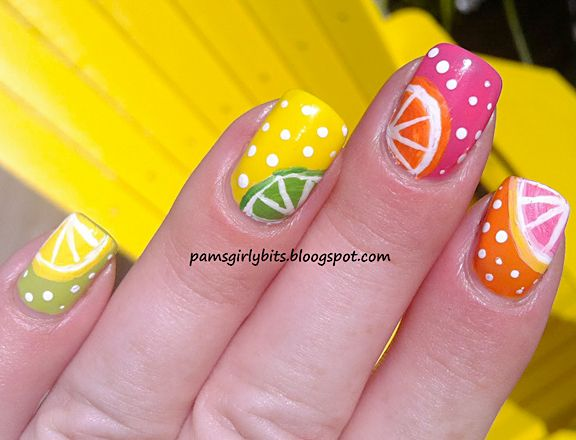 19 Interesting Fruit Nails Design- paint only one nail with the fruity design and the others plain