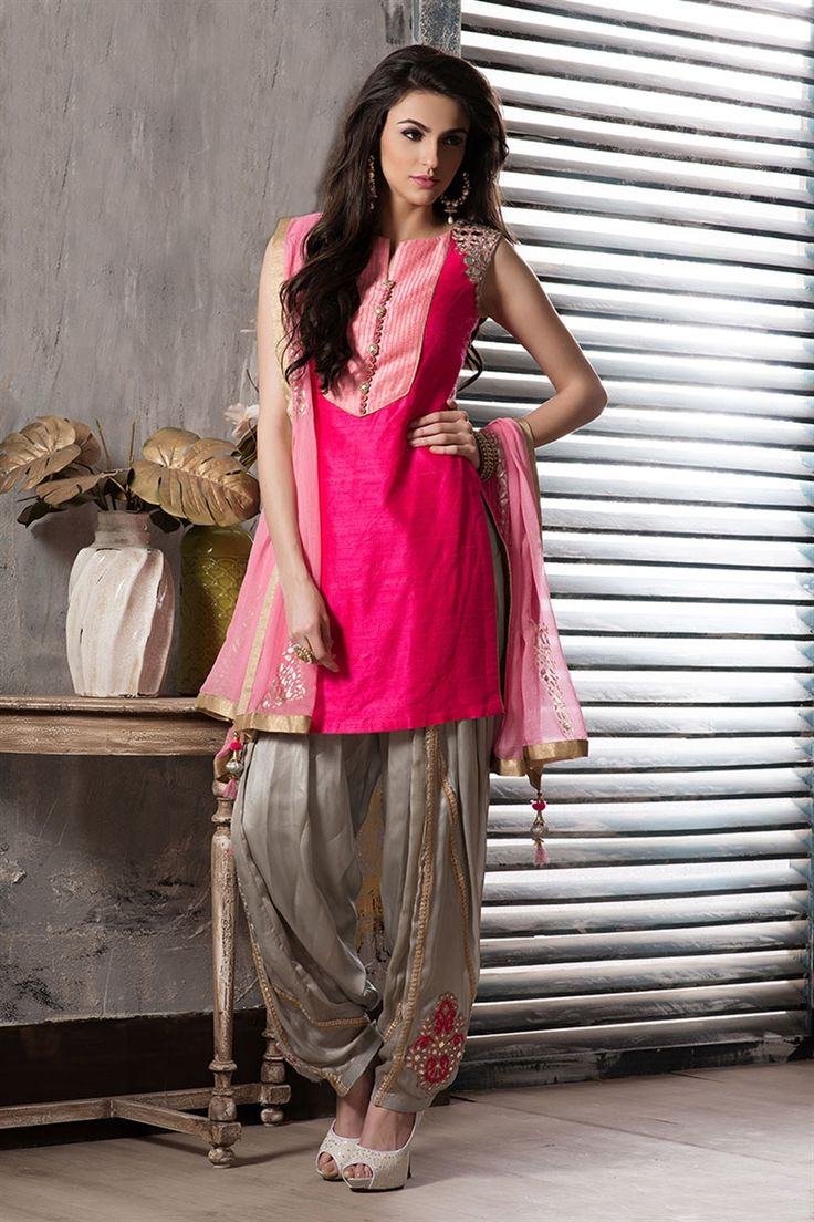 pink & grey color patiala suit