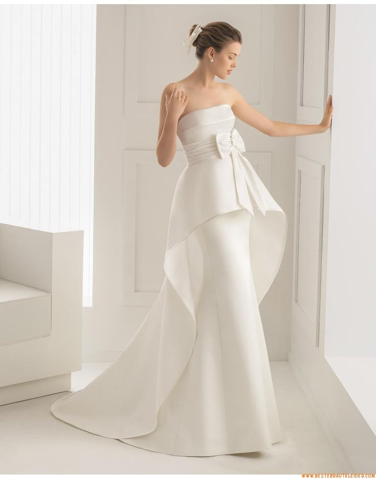 2015 Meerjungfrau Trägerlose Besondere Brautkleider aus Satin mit Schleife