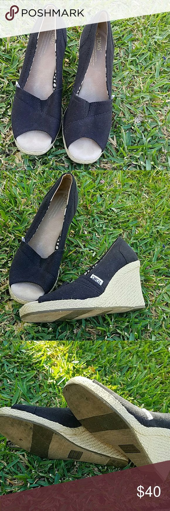 Black TOMS Wedges Goes with everything and very comfortable. Great condition   Open to offers TOMS Shoes Wedges