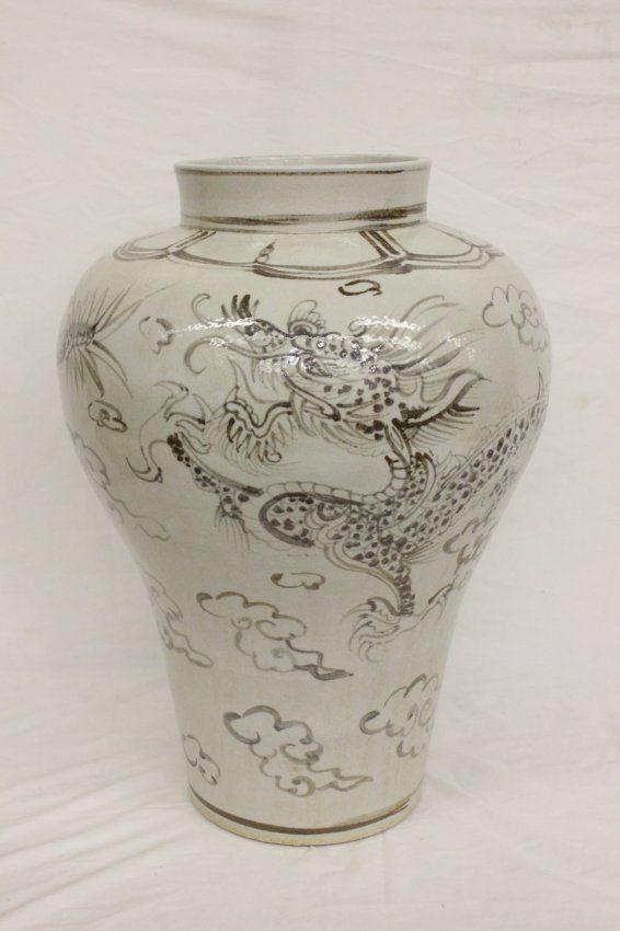 "A large Korean white porcelain jar (23.5""Hx16.5""dia) painted with dragon"