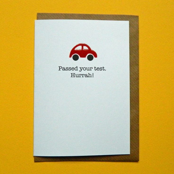 Passed your test Hurrah! Driving test card, red car, theory test congratulations - Hand-enamelled art card. by TeddyPerkins on Etsy